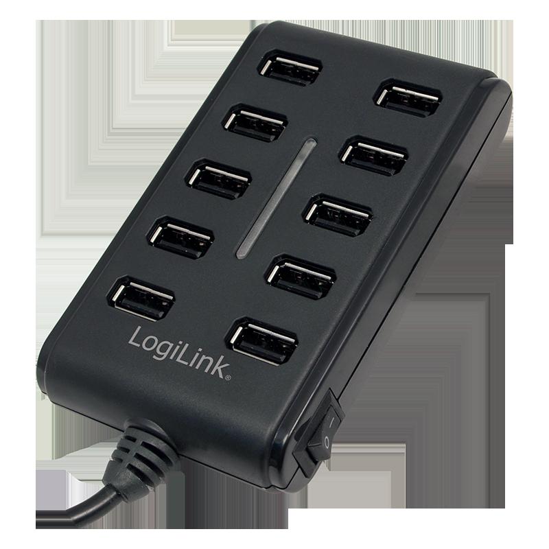 logilink produkt usb 2 0 hub 10 port mit ein aus schalter. Black Bedroom Furniture Sets. Home Design Ideas